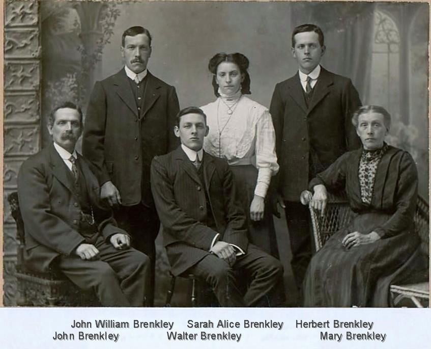 Back: John William Brenkley, Sarah Alice Brenkley, Herbert Brenkley. Seated: John Brenkley, Walter Brenkley, Mary Brenkley. Photo possibly taken before Walter left for Australia.