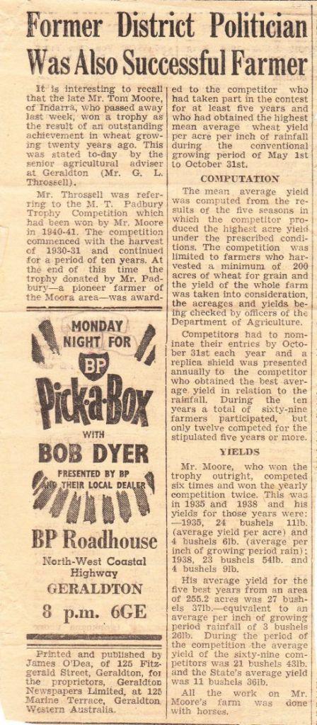 Newspaper clipping Tom Moore Padbury Trophy