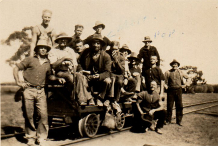Rob Weir (with hand over mouth) and the Indarra Railway Gang 1931